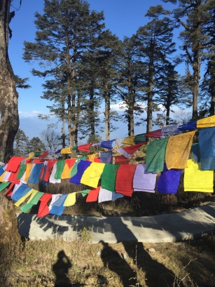 Planting prayer flags