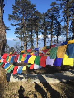 Planting prayer flags