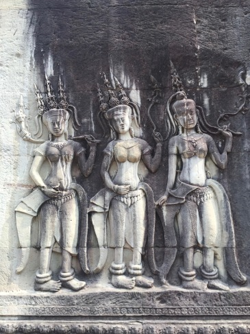 Bas-relief of dancing apsaras